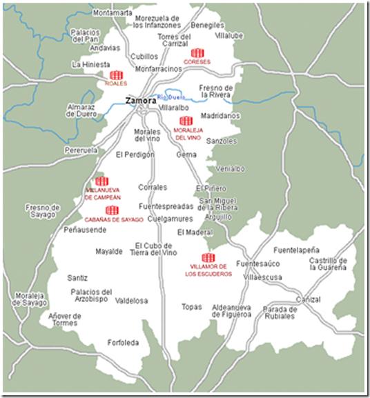 mapa vino de zamora